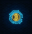 neon bitcoin currency sign with electronic vector image