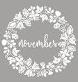 november wreath card vector image