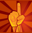 one single finger hand showing raised supporting vector image