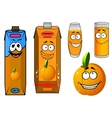 Orange juice and fruit cartoon icons vector image vector image