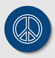 peace sign white contour vector image vector image