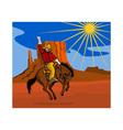 Rodeo Cowboy Riding Horse vector image