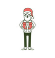 santa claus caricature full body with gift box hat vector image