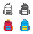 school backpack designed icons set vector image
