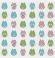 seamless cute cartoon owls birds pattern vector image vector image