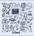set school stuff hand drawn vector image