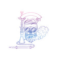 sketch hipster skull with hookah vector image vector image
