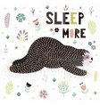 sleep more card with a cute sleeping sloth vector image vector image