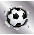 soccer thru metal sheet vector image vector image