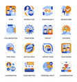 teamwork icons set in flat style vector image