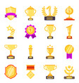 trophy symbols achievement awards medals vector image