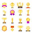 trophy symbols achievement awards medals vector image vector image