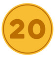 twenty gold coin vector image vector image