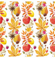 watercolor autumn floral pattern vector image vector image