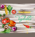 watercolor vegetables on wooden background vector image