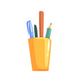 Yellow holder with pencils and pens office tools