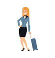 young caucasian woman or blonde stewardess girl vector image vector image