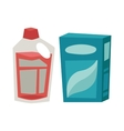 Plastic detergent container and paper box flat vector image