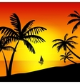 Sunset on the island vector image