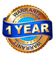 1 year warranty golden label with ribbon vector image
