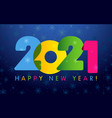 2021 new year card deep in blue bg vector image