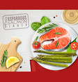 asparagus salmon dish realistic image vector image vector image