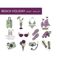 Beach holiday line icons vector image vector image