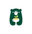 bear cub baby tea cup logo icon vector image vector image