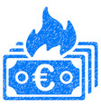 burn euro banknotes icon grunge watermark vector image vector image