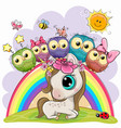 cartoon unicorn and five cute owls is sitting on vector image vector image