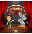 circus trainer with elephant on the stage vector image vector image