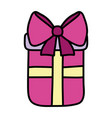 color present gift box with ribbon bow vector image