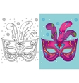 Coloring Book Of Christmas Purple Carnival Mask vector image