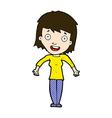 comic cartoon woman shrugging shoulders vector image