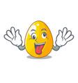 crazy golden egg with cartoon shape reflection vector image vector image