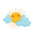 cute sun and clouds drawn vector image vector image