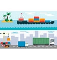 Delivery cargo truck and ship sea transportation vector image vector image