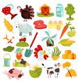 farm elements set vector image vector image