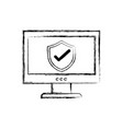 figure shield security protection inside computer vector image vector image