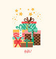five gift boxes poster design vector image