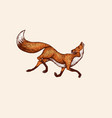 fox in a jump pose animal with fluffy tail vector image vector image