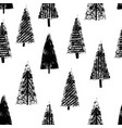 hand drawn christmas trees seamless white vector image