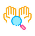 hands and magnifier icon outline vector image
