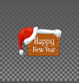 happy new year - festive wooden board with winter vector image vector image