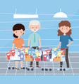 happy people with full shopping carts excess vector image