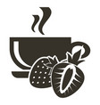 Icon cup of hot tea with strawberry flavor logo