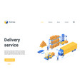 isometric delivery logistic service landing page vector image vector image