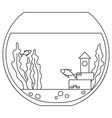 line art black and white round fish aquarium vector image
