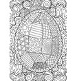 line art for easter with decorative egg vector image vector image