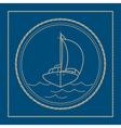 Marine emblem with yacht sailboat vector image vector image